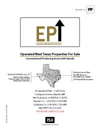 Eastern Shelf Operated WI (Eagle Production)