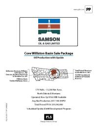WILLISTON BASIN SALE PACKAGE